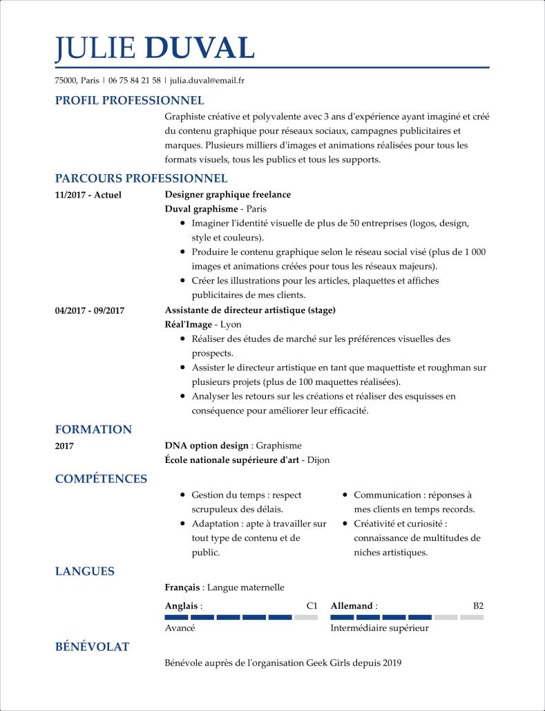 Modèle de CV professionnel