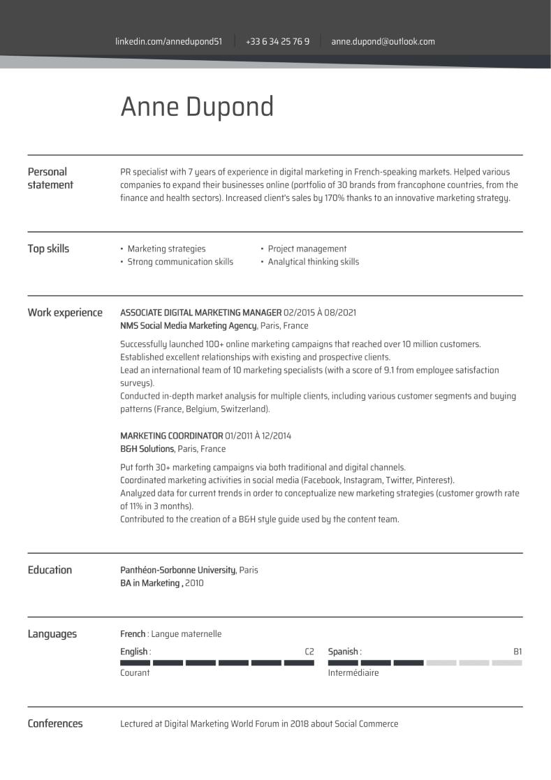 Exemple de CV en anglais