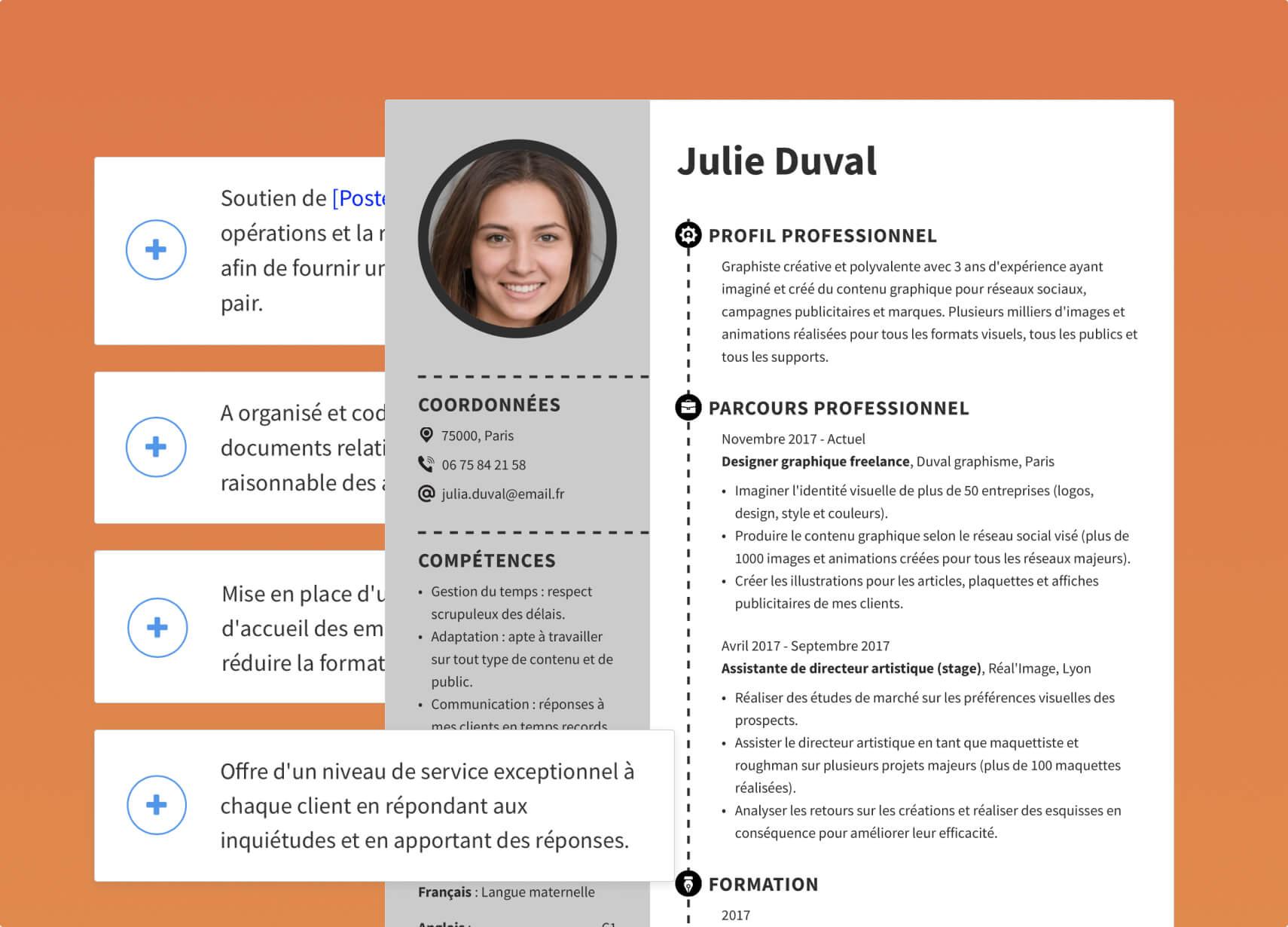 Fonctionnalités du CV designer
