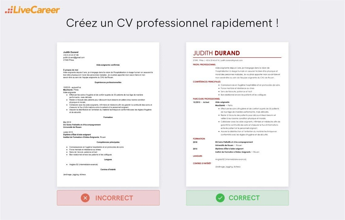 Modèle de CV aide-soignante + compétences (tout niveau)