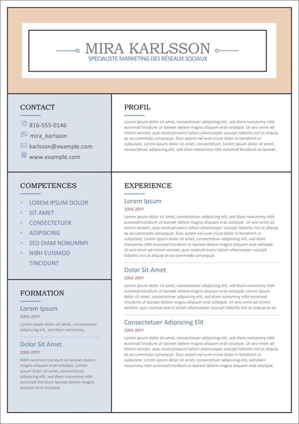 cv word modeles