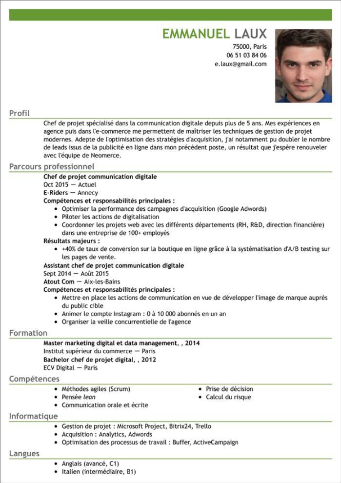 exemples cv pdf